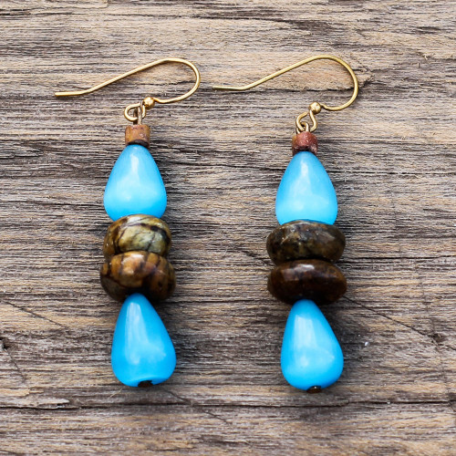 Cat's Eye Teardrop Beaded Dangle Earrings from Ghana 'Odefo Drops'