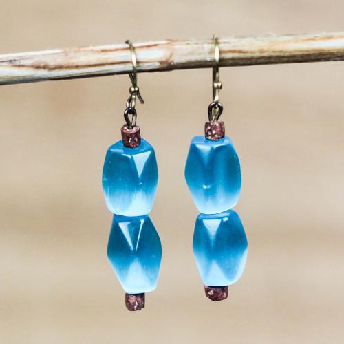 Cat's Eye and Bauxite Beaded Dangle Earrings from Ghana 'Queen Blue'