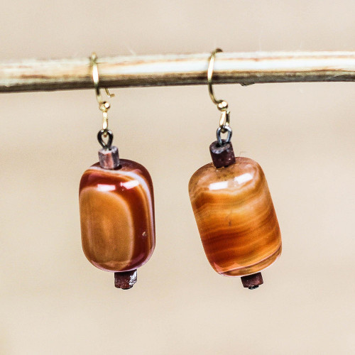 Red-Orange Agate Beaded Dangle Earrings from Ghana 'Round Royal'
