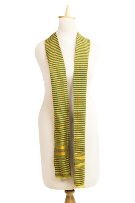 Authentic Handwoven Green Cotton Kente Cloth Scarf 'Green Pebbles'