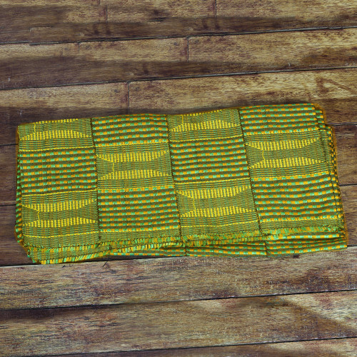 Authentic Handwoven Green Cotton Kente Cloth Shawl 'Green Pebbles'