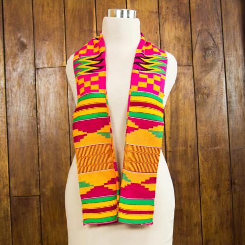 Vibrant One Cotton Blend Kente Scarf from Ghana 'Fathia Elegance'