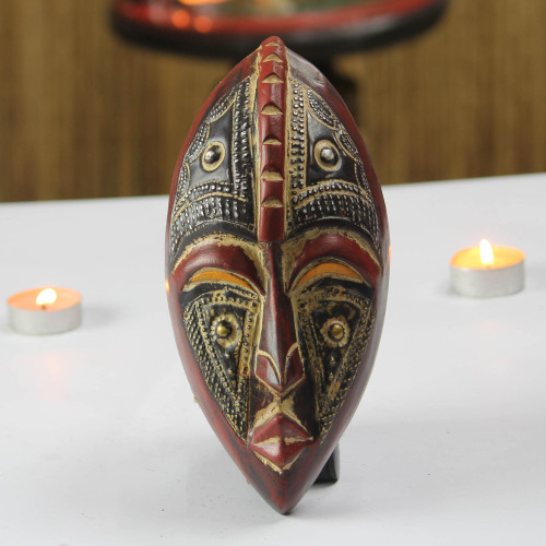 Oval African Wood and Aluminum Mask from Ghana 'Kyauta'