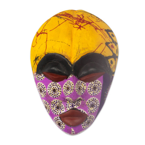 African Wood Mask with Printed Cotton Accents from Ghana 'Colorful Tradition'