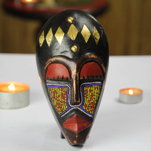 Recycled Glass Beaded African Wood Mask from Ghana 'Onyeisi'