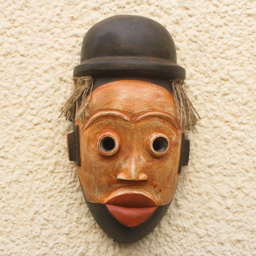 Hand-Carved African Wood Mask with a Hat from Ghana 'Ogoni Face'