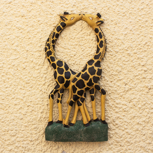 Wood Giraffe Pair Wall Decor 'Giraffe Couple II'