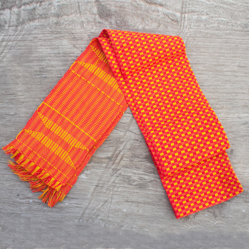 Authentic African Kente Cloth Red  Yellow Kpekui Scarf 'Golden Pebbles on Scarlet'