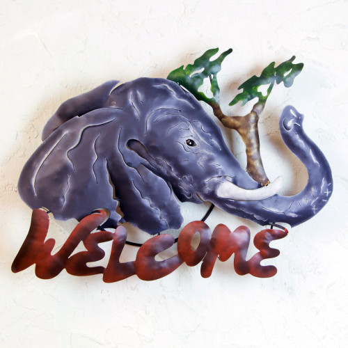 Unique Elephant Steel Welcome Sign Outdoor Living 'A Jumbo Welcome'