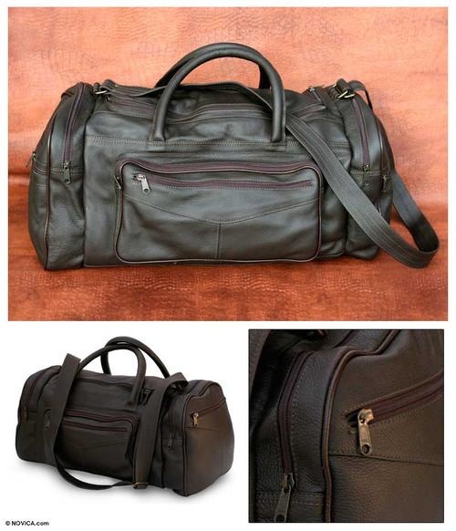 Leather travel bag Medium 'Brazil in Dark Brown'