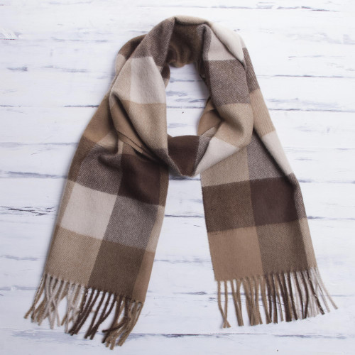 Unique Alpaca Wool Patterned Scarf 'Brown Squared'