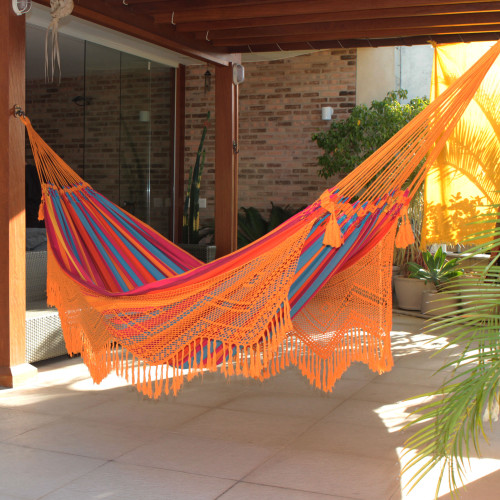 Brazilian Cotton Double Hammock with Orange Crochet 'Carnaval'