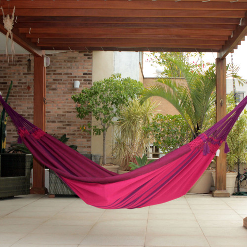Fair Trade Cotton Double Hammock from Brazil 'Icari Orchid'