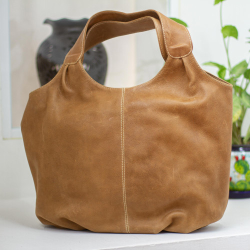 Brown Leather Hobo Handbag Fully Lined with 3 Inner Pockets 'Urban Honey'