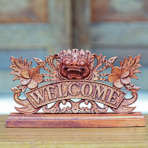 Hand Carved Wooden Welcome Sign with Balinese Deity 'Bhoma Welcome'