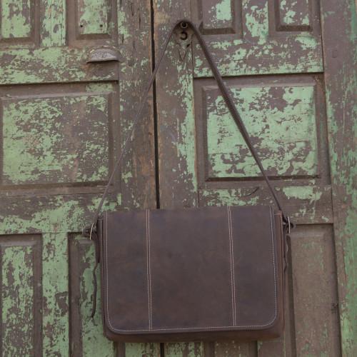 Handmade Brown Leather Modern Professional Style Briefcase 'Achievement'
