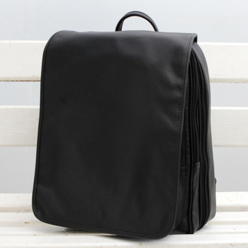 Handcrafted Black Leather Backpack with a Flap from Brazil 'Mysterious Traveler'