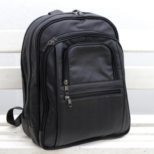 Handcrafted Leather Backpack in Black from Brazil 'Studious Traveler in Black'