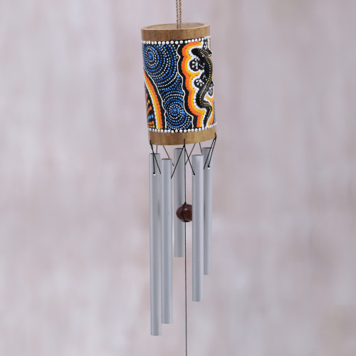 Hand-Painted Gecko-Themed Bamboo Wind Chimes from Bali 'Papua Gecko'