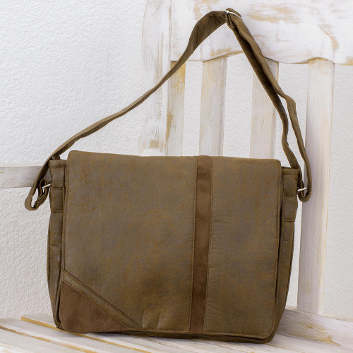 Faux Leather Messenger Bag in Coffee from Costa Rica 'Coffee Traveler'