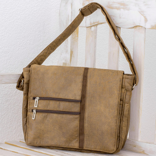 Faux Leather Messenger Bag in Sepia from Costa Rica 'Voyage to Foreign Lands'