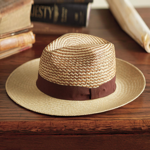 Men's Ecuadorian Straw Panama Hat with Ribbon Trim 'Equator'