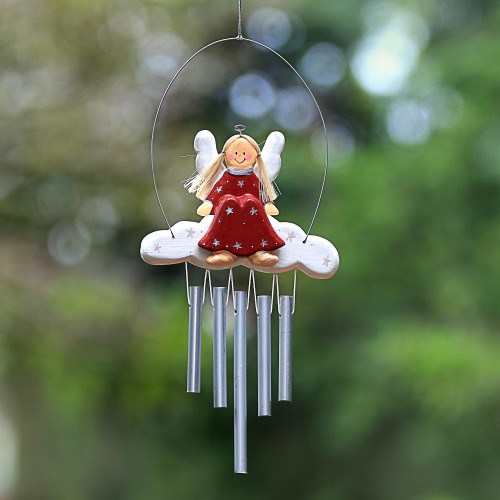 Angel-Themed Wood Wind Chimes in Red from Bali 'Angel Tune in Red'
