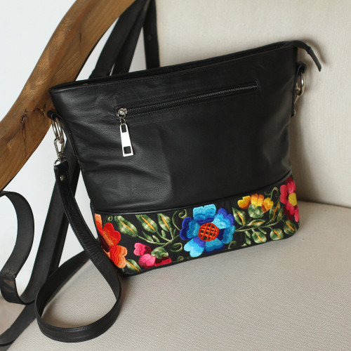 Embroidered Cotton Accent Black Leather Sling from Mexico 'Sophisticated Bouquet'