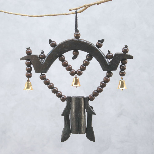 Artisan Crafted Raintree Wood Mobile from Thailand 'Farm Ring'