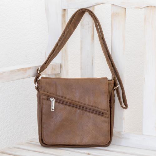 Handmade Faux Leather Messenger Bag in Espresso 'Espresso Journey'