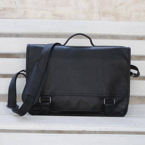 Black Leather Laptop Bag from Brazil Double 'Universal in Black'