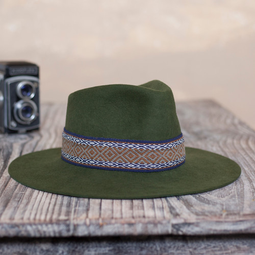 Peruvian Alpaca and Wool Blend Felt Hat in Olive 'Munay in Olive'