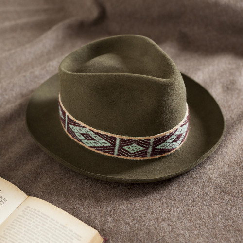 Olive Alpaca and Felt Blend Hat with Handwoven Accent 'Yaku in Olive'