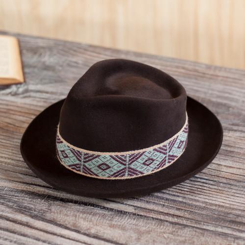 Espresso Alpaca and Felt Blend Hat with Handwoven Accent 'Yaku in Espresso'