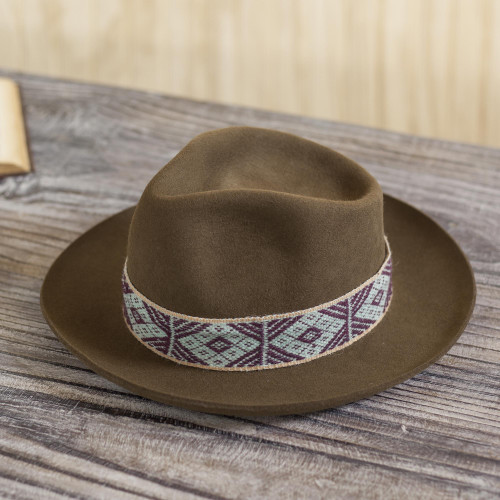 Tan Alpaca and Felt Blend Hat with Handwoven Accent 'Yaku in Tan'