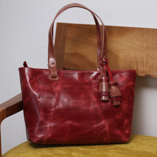 Handcrafted Leather Shoulder Bag in Wine from Mexico 'Beautiful Elegance in Wine'