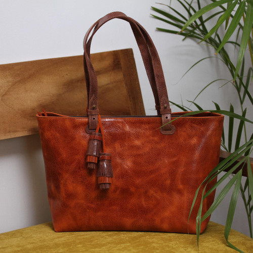 Handcrafted Leather Shoulder Bag in Spice from Mexico 'Beautiful Elegance in Spice'