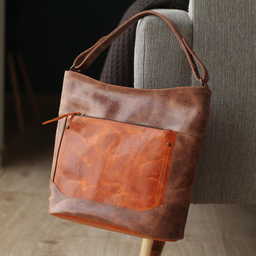 Handmade Leather Tote in Brown from Mexico 'Fashionable Brown'