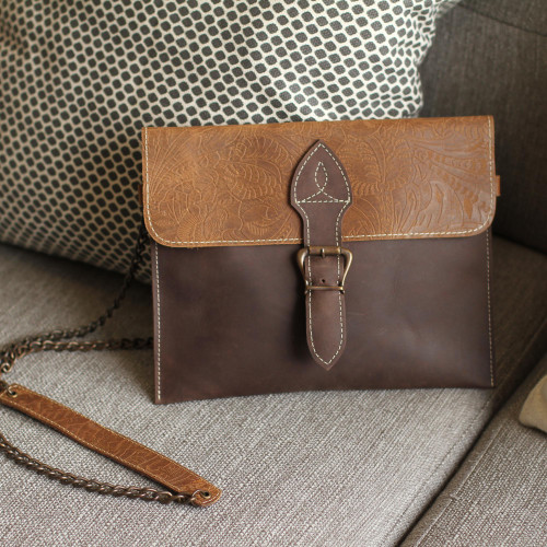 Patterned Leather Sling in Brown from Mexico 'Sophisticated Brown'
