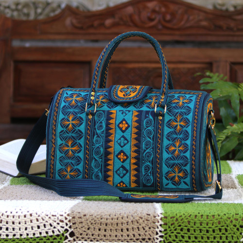 Embroidered Cotton Handbag in Teal and Saffron 14.5 in. 'Teal Sultanate'