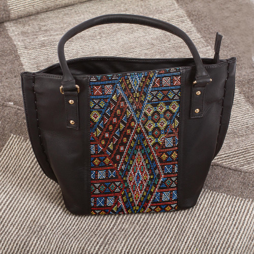 Geometric Pattern Cotton Accent Leather Shoulder Bag 'Otomi Geometry'