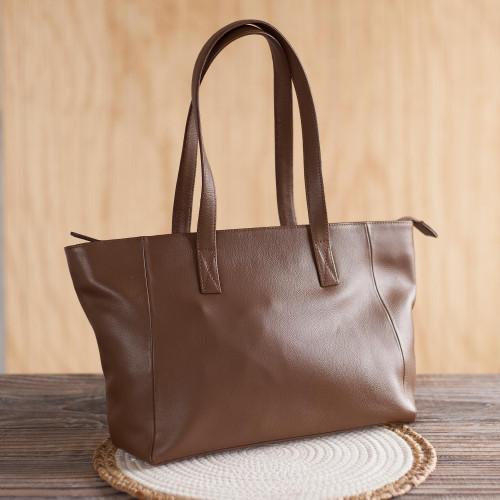 Burnt Sienna Leather Shoulder Bag Crafted in Peru 'Burnt Sienna Glam'