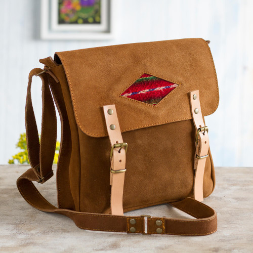 Wool Accented Suede Messenger Bag in Sepia from Peru 'Sepia Business'