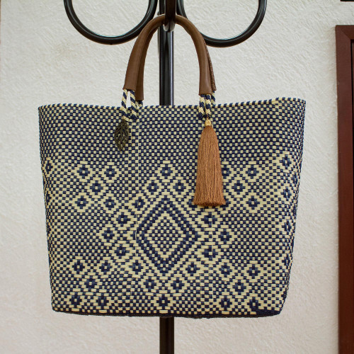 Vanilla and Navy Leather Accent Handwoven Tote from Mexico 'Vanilla Geometry'