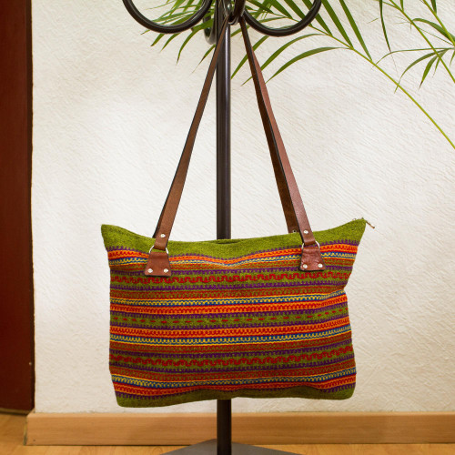 Avocado and Multicolored Striped Wool Shoulder Bag 'Sunset Jungle'