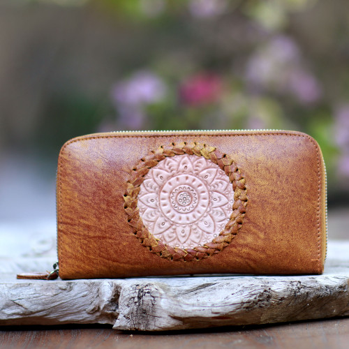 Patterned Leather Clutch in Ginger from Bali 'Padma Center in Ginger'