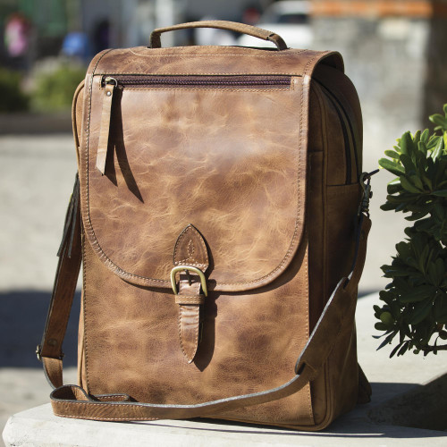 Handmade Leather Backpack in Saddle Brown from Mexico 'Saddle Brown Traveler'