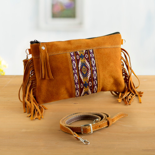 Fringed Wool Accented Suede Handbag in Golden Brown 'Golden Brown Fringe'
