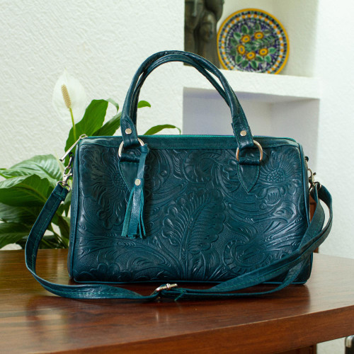 Floral and Leaf Pattern Leather Handbag in Pine Green 'Pine Green Garden'