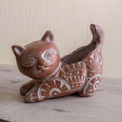 Salvadoran Brown Cat Theme Ceramic Flower Pot 'Kitty Cat Stretches'